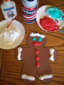 Gingerbread Man Art - Puffy (glue & shaving cream) Paint...these are so easy and fun when they dry (even grown ups have to touch them!)