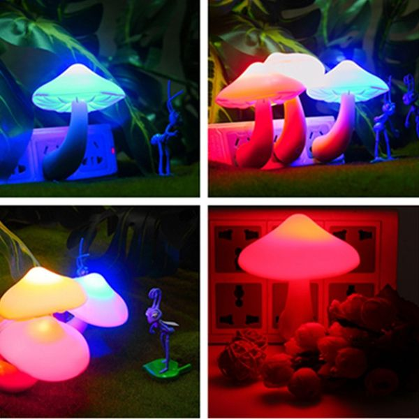 LED Auto Light-controlled Sensor Mushroom Lamp Bedside Night Light AC110V-250V Sale - Banggood.com