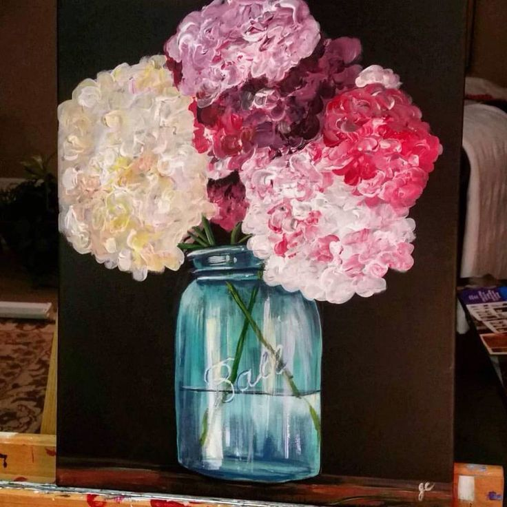 Original Acrylic Painting Of Hydrangeas In A Mason Jar By