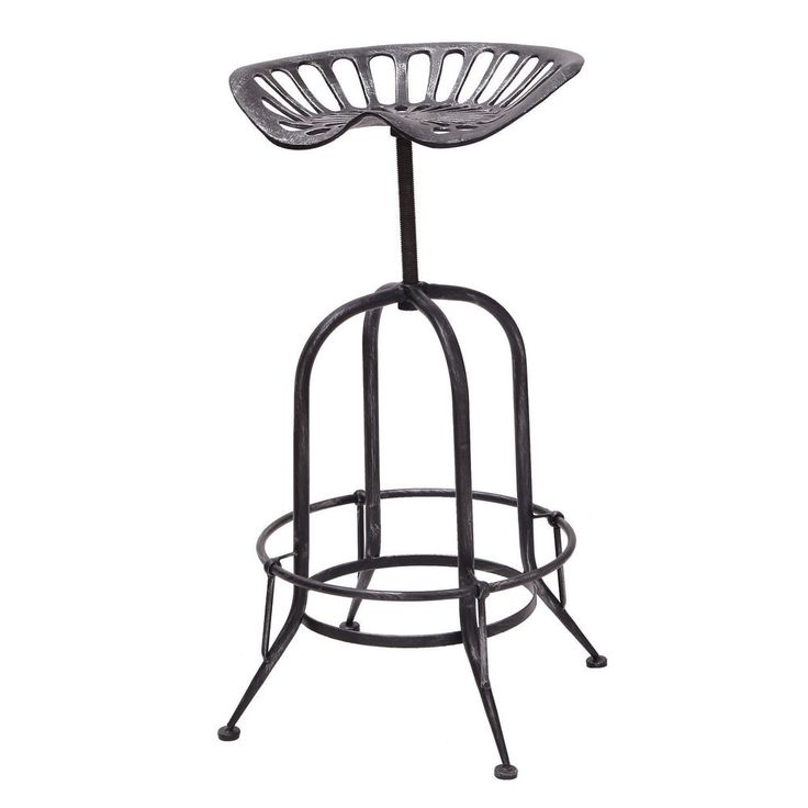 Adeco Antique Metal Stool with Tractor-inspired Seat - 19238299 - Overstock - Great Deals on Adeco Bar Stools - Mobile