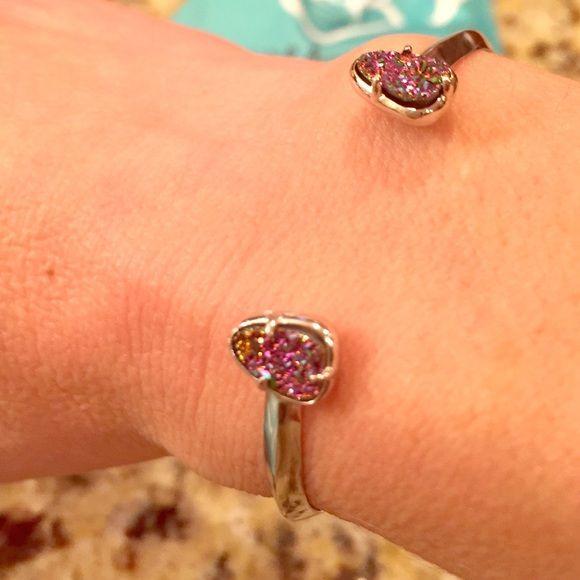 Kendra Scott bracelet Rhodium cuff bracelet with multi colored druzy stones Kendra Scott Jewelry Bracelets