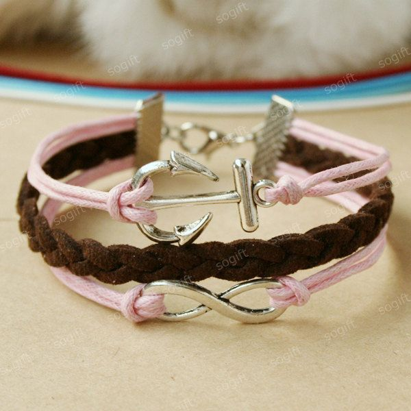 Anchor Bracelet - Infinity bracelet  - pink and brown mixed colors combination bracelet for every princess