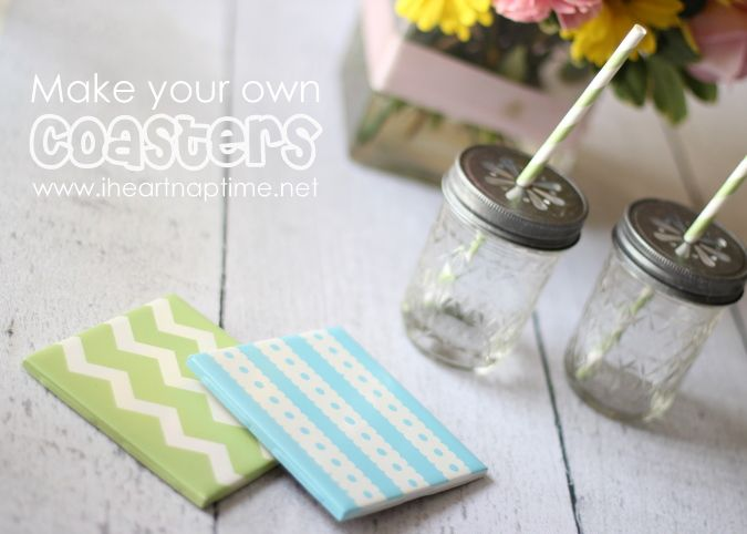 painted tile coasters: Diy Coasters, Gifts Ideas, Diy Crafts, Summer Projects, Homemade Coasters, Cute Ideas, Homemade Gifts, How To, Tile Coasters