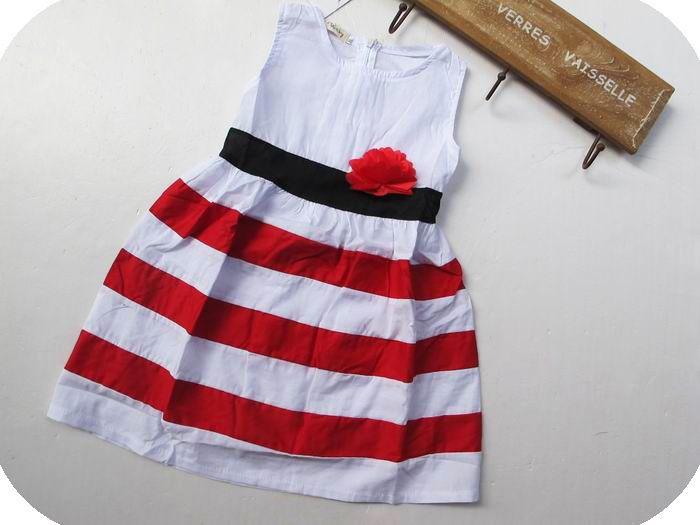 Летом 2016 Белый/Красные Полосы Случайные Новорожденных Девочек Одеваться детские Платья Vestido Infantil Ropa Нина Дети Платье Одежда Для девочек