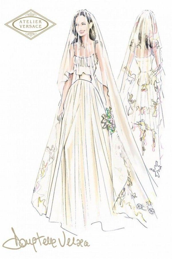 Confira o desenho do modelo de vestido de noiva da atriz Angelina Jolie, desenhado por Luigi Massi.