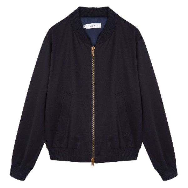 Navy Cotton Bomber Jacket ($255) ❤ liked on Polyvore featuring men's fashion, men's clothing, men's outerwear, men's jackets, mens navy blue bomber jacket, mens navy blue jacket, mens fur collar bomber jacket, mens navy bomber jacket and mens bomber jacket