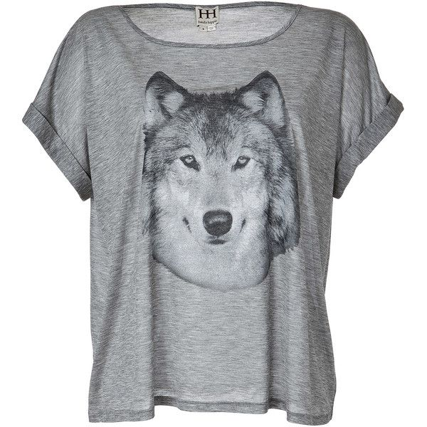 HAUTE HIPPIE Grey Heather Hungry Like A Wolf T-Shirt ($165) ❤ liked on Polyvore
