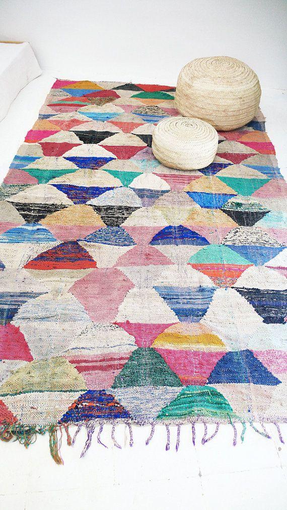 Vintage Moroccan Kilim BOUCHEROUITE Rug by lacasadecoto on Etsy