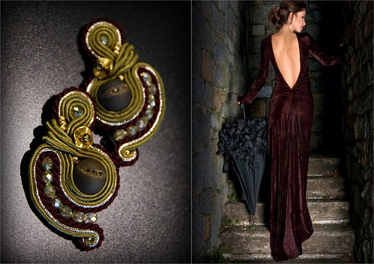 MADAM Jewelry   Handmade soutache earrings with agate stone. 5cm length.  https://www.facebook.com/pages/MADAM-Jewelry-Rank%C5%B3-darbo-papuo%C5%A1alai/340466459470005