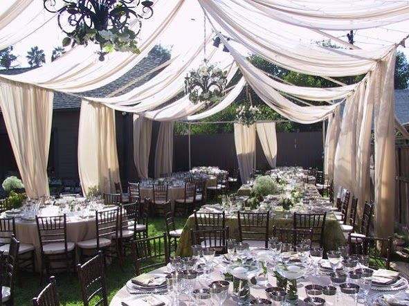 Stunning wedding canopy/tent. Unique tented style, as it fits perfectly into the garden theme. When having a garden style reception, decorate the drapes with fresh white florals and greenery.