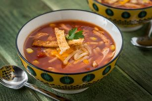Your favourite Mexican flavours of corn, cilantro, tortillas, salsa and cheese in an easy-to-make soup.