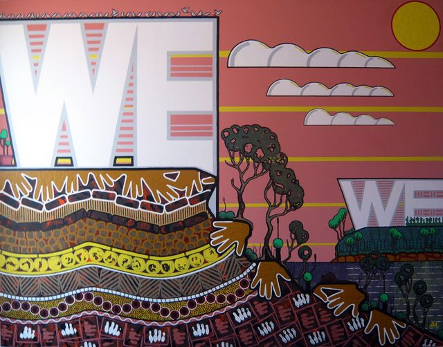 We are the Never Clever by Adam Hill http://gallery.aboriginalartdirectory.com/aboriginal-art/adam-hill/we-are-the-never-clever.php