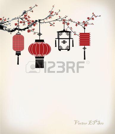 Chinesische Laterne hängen an Kirschbaum