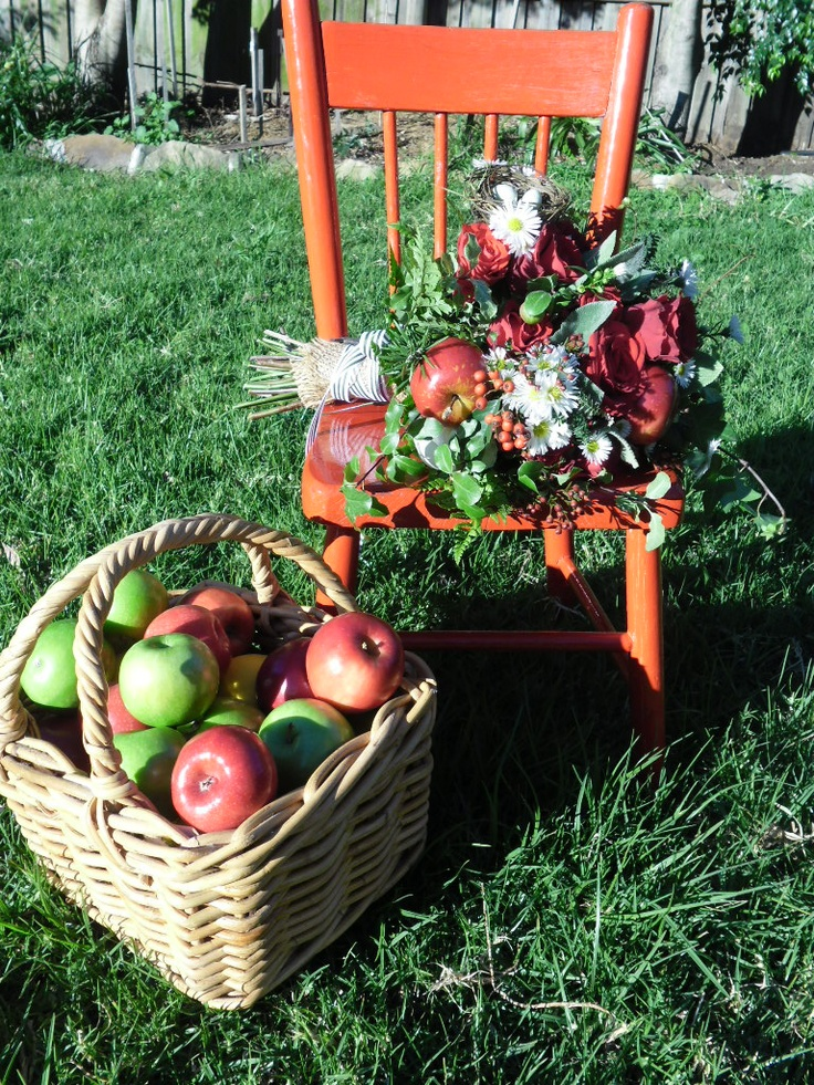 """This is my """"Once Upon a Time"""" meets """"Scarborough Fair"""" Bouquet, complete with Apples, Sage, Rosemary & Thyme"""