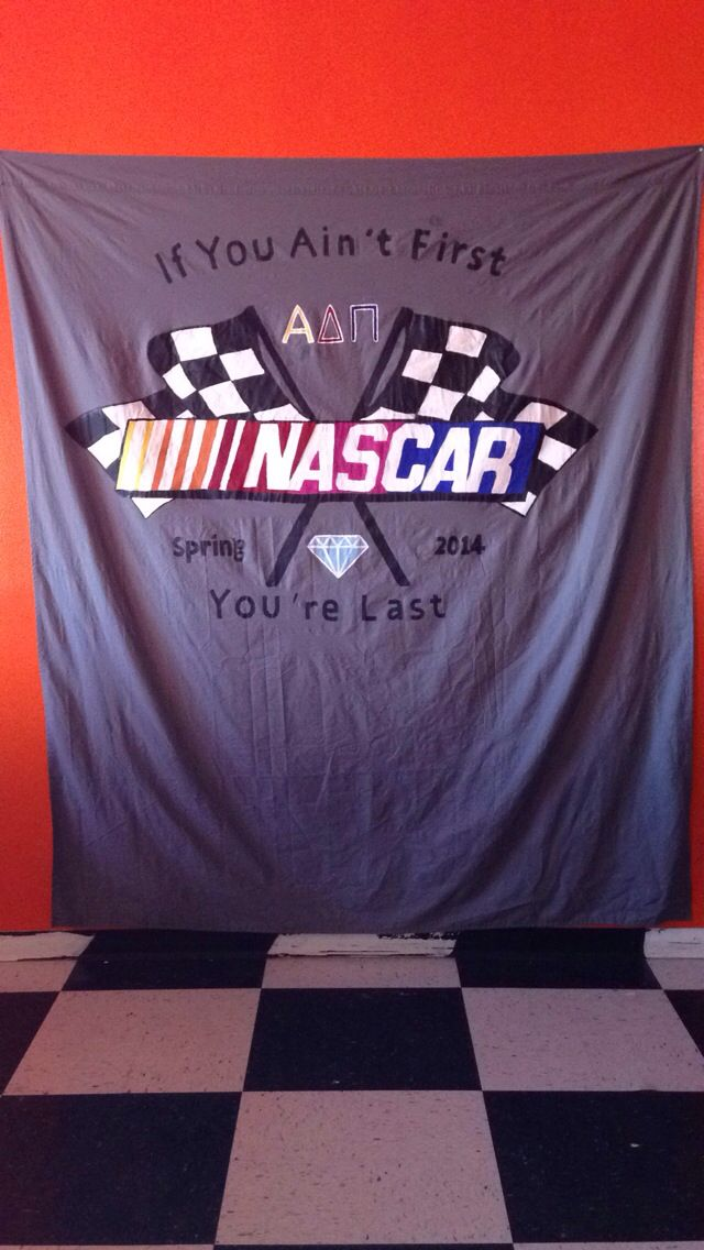 Alpha Delta Pi NASCAR date party backdrop   ADPi   White Trash Bash