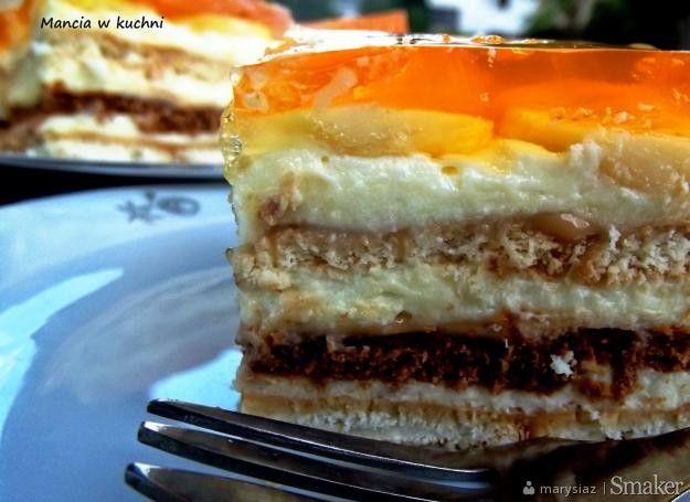Ciasto bananowo - karmelowe bez pieczenia - Przepis - Smaker.pl