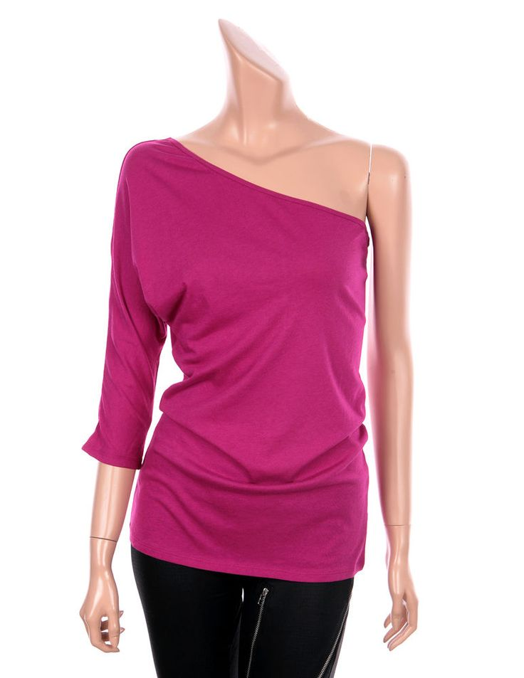 VICTORIA Sexy One Shoulder 3/4 Sleeve Slim Fit Tops Tees T Shirts Pink, 4 sz #VictoriasSecret #Sexy #Casual