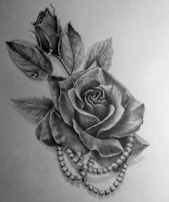 rose and pearls tattoo - Google Search