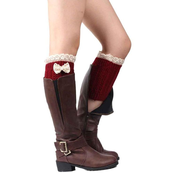 Muxika Winter Women Bowknot Lace Knitted Stocking Leg Warmers Boot Cuffs Crochet Socks -- Details can be found  : Fashion for Christmas