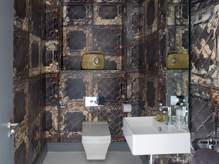 Contemporary Powder Room By Optimise Design Bathroom Pinterest Rusted Metal Tin Tiles And