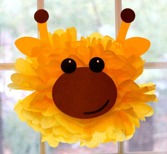 Giraffe pom pom kit king of the jungle safari noahs ark carnival circus baby shower first birthday party decoration via Etsy