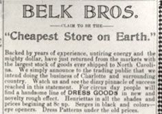 "William Henry Belk began Belk's Department Store as ""The New York Racket"" in 1888 in Monroe, NC.  Learn more at Belk.com or come to the Union County Public Library in Monroe! -pmp #MonroeNCHistory #BelkStoreHistory"