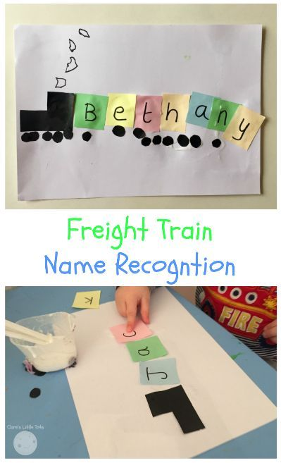 Freight train name recognition craft for preschoolers