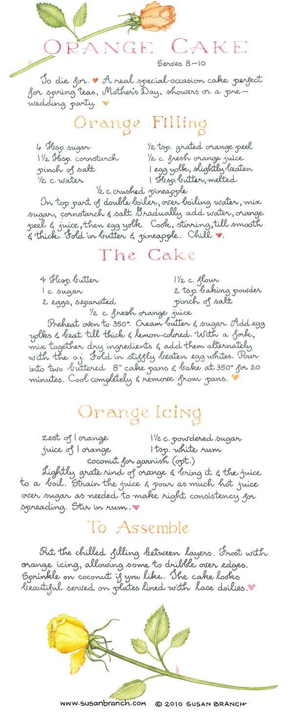 Susan Branch Orange Cake and Filling