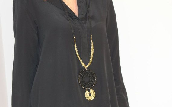 Check out this item in my Etsy shop https://www.etsy.com/listing/487503776/black-long-necklace-with-pendant-and