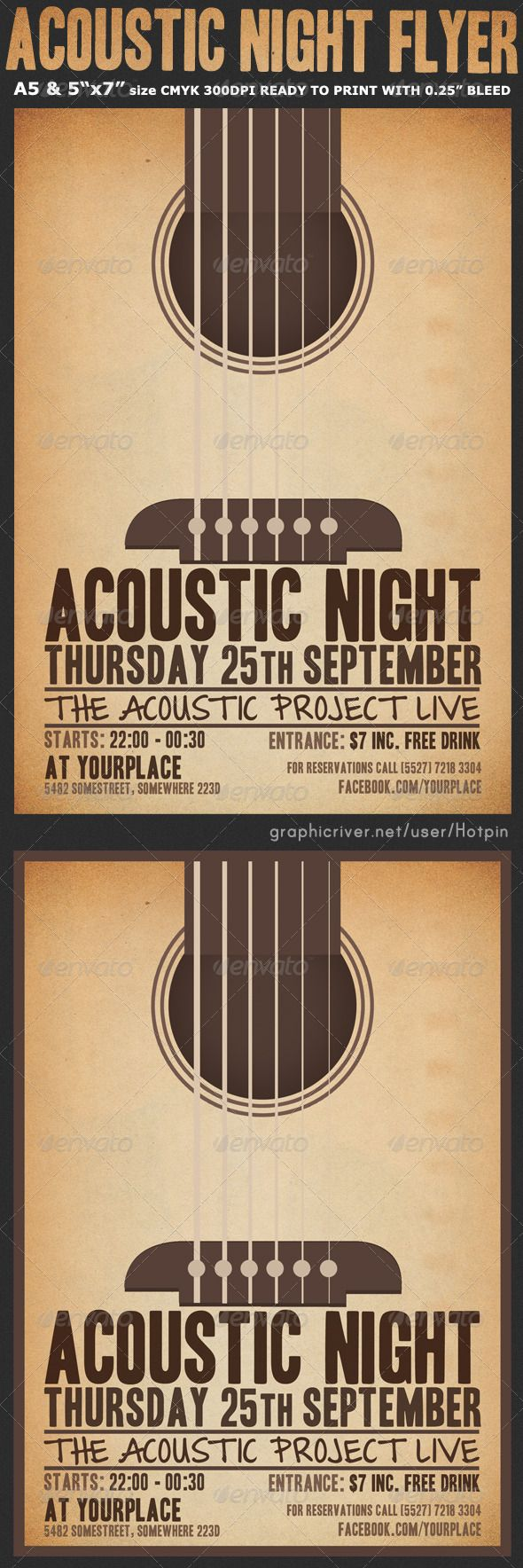 "Acoustic Night Event Flyer Template is very modern flyer that will give the perfect promotion for your upcoming Bar, pub or club event! All elements are in separate layers and text is editable.  2 PSD files –A5 (5.82""x8.26""), 5""x7"" size with 0.3mm bleed  Clearly labeled folders and layers  CMYK – 300dpi – Ready to print with guides"