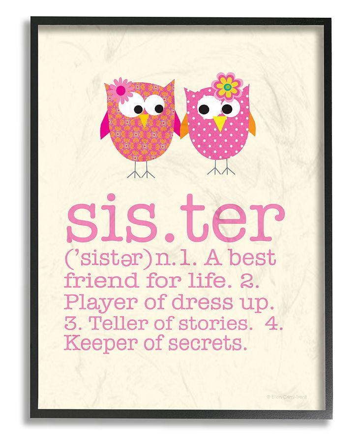 Pink 'Sister' Definition Wall Art