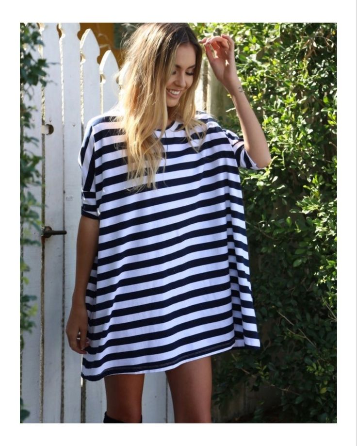 Lucy Oversized Tee Dress - Navy and white Stripe