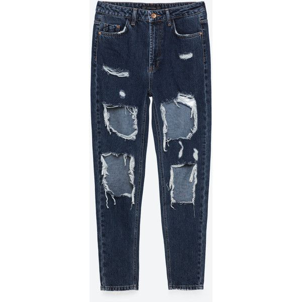 CALÇAS DE GANGA MOM FIT RASGÕES - Damaged-JEANS-TRF | ZARA Portugal ($33) ❤ liked on Polyvore featuring jeans, pants, zara, distressing jeans, destroyed jeans, blue ripped jeans, torn jeans and distressed jeans