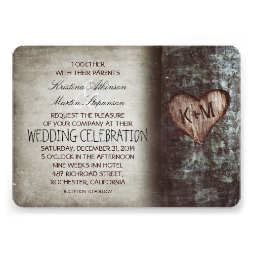 tree carved heart rustic and vintage wedding card - Zazzle Wedding Invitations