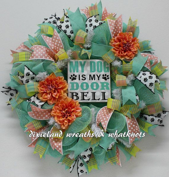 dog wreath pet wreath my dog is my doorbell by dixielandwreaths