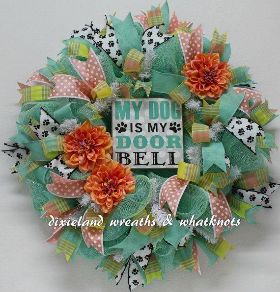 Dog Wreath Pet Wreath My Dog is My Doorbell by DixielandWreaths