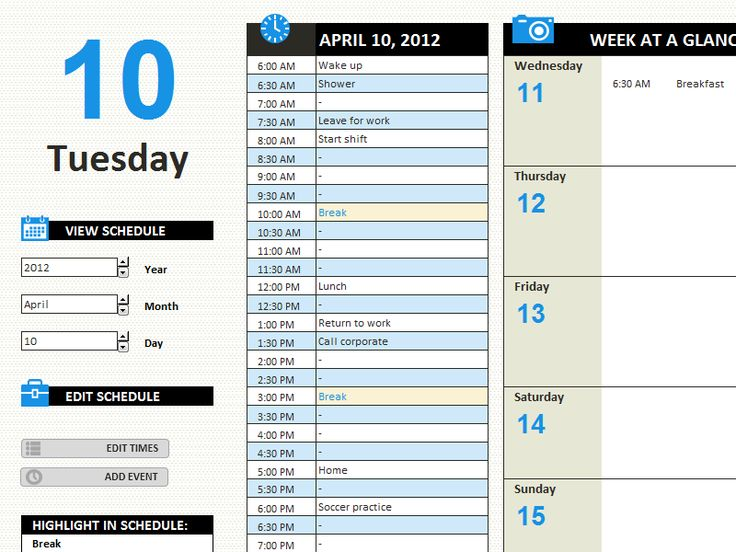 Daily work schedule - Templates - Office.com