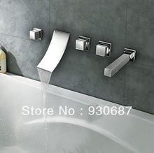 Moderne Chrom-finish Verbreitet Wasserfall Curve Badezimmer Basin & Badewanne Wasserhahn(China (Mainland))
