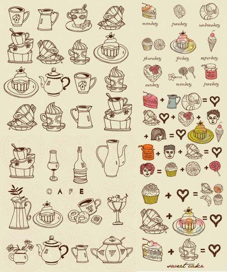 Coffee snacks vector materia thumb 450x539 3402 おしゃれでかわいい!ガーリーなイラストがいっぱい♪   Free…