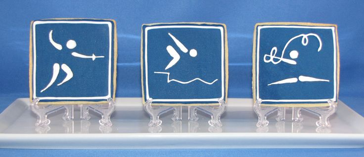 Olympics-themed pictogram cookies (fencing, swimming, and rhythmic gymnastics)