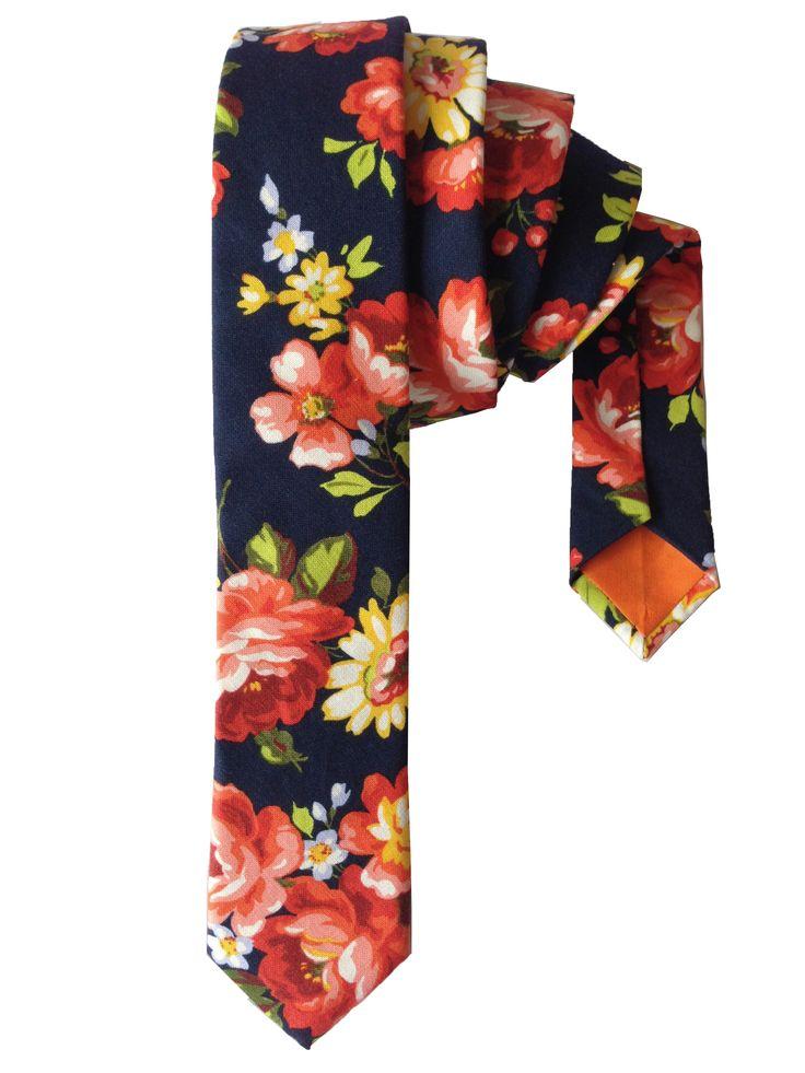 Orange Floral Print Skinny Tie