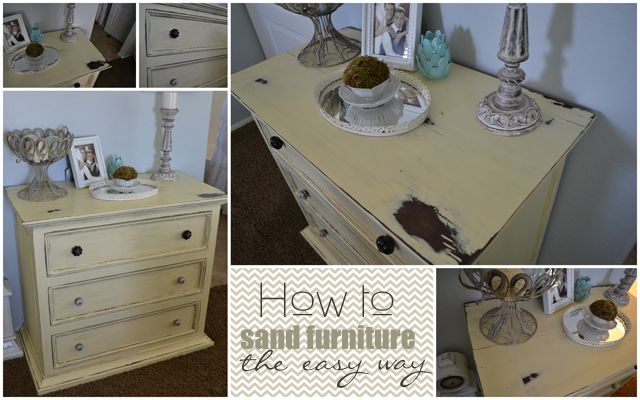 How to distress furniture the easy way.  Design Stash: Distressed Yellow Dresser and How I Sand Furniture