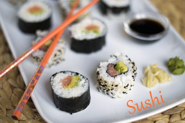Sushi met gerookte zalm