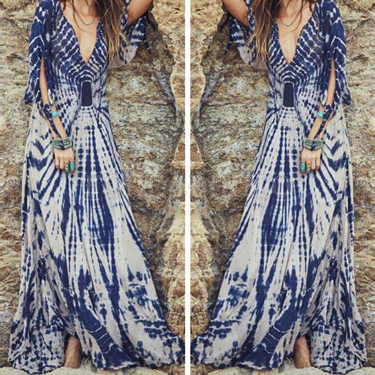 Pretty Ladies Summer Long Maxi BOHO Evening Party Dress Beach Dresses Sundress S #UnbrandGeneric #Maxi #SummerBeach