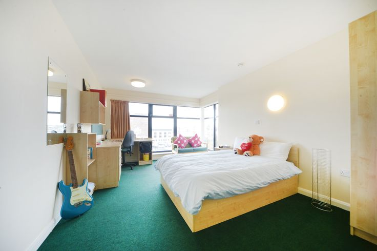 Double Gold. This room comes with a desk, study chair, two-seater sofa, notice board, wardrobe and book shelves, mirror and curtains, electric heater, double bed with underbed storage and free WiFi. Most have great views over the city too.