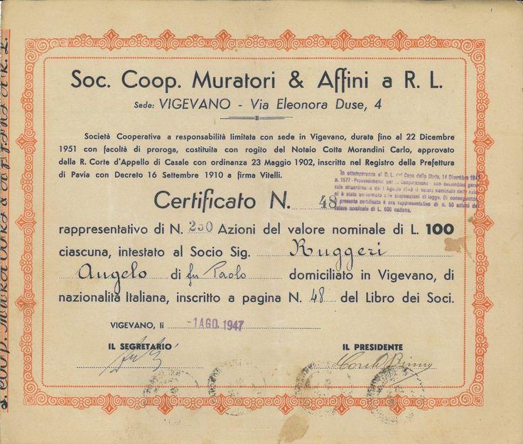 COOP. MURATORI & AFFINI A R.L. SOC. - #scripomarket #scriposigns #scripofilia #scripophily #finanza #finance #collezionismo #collectibles #arte #art #scripoart #scripoarte #borsa #stock #azioni #bonds #obbligazioni