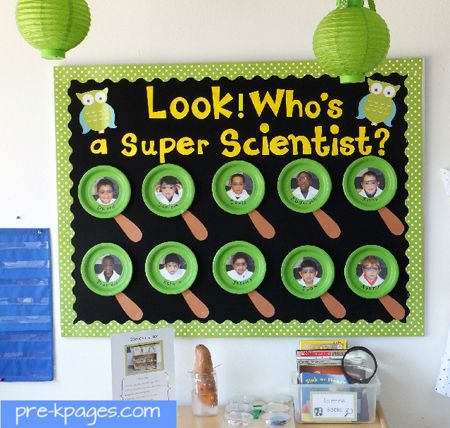 Look! Who's a Super Scientist? bulletin board via www.pre-kpages.com #preschool #kindergarten #bulletin board
