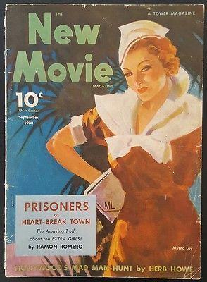 New Movie Magazine September, 1933 Myrna Loy Heart Break Town Exrta Girls
