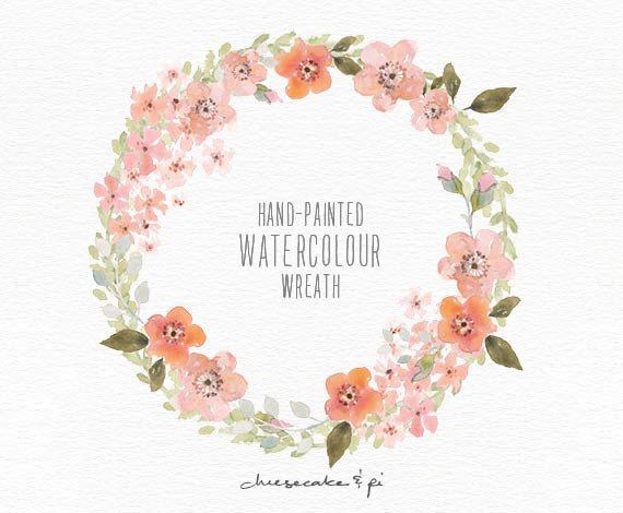 Watercolor wreath: 1 PNG floral clip art / por CheesecakeandPi