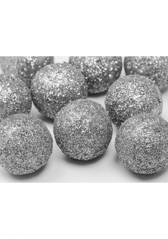 Dekoracje brokatowe KULA srebrne (25szt.)